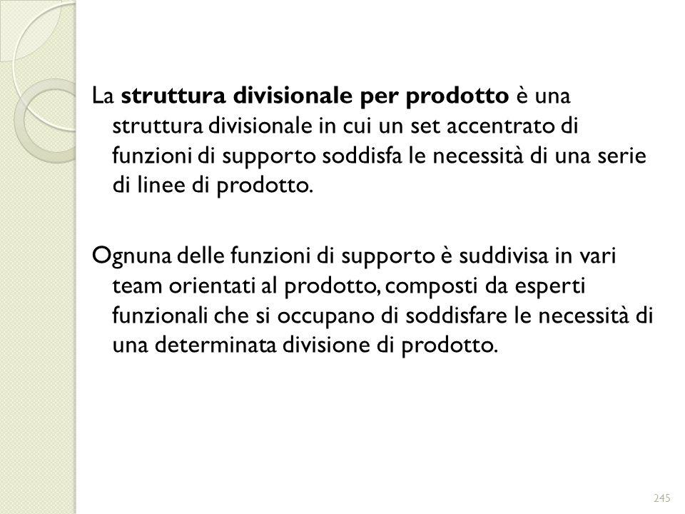 La struttura divisionale per prodotto è una struttura divisionale in cui un set accentrato di funzioni di supporto soddisfa le necessità di una serie