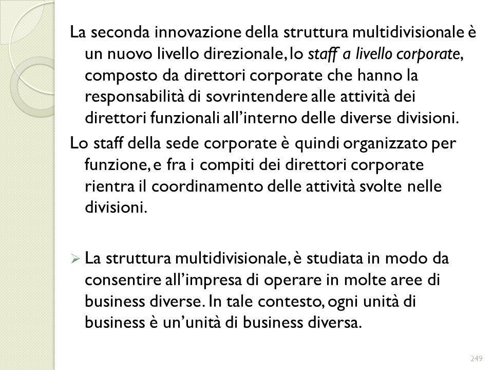 La seconda innovazione della struttura multidivisionale è un nuovo livello direzionale, lo staff a livello corporate, composto da direttori corporate