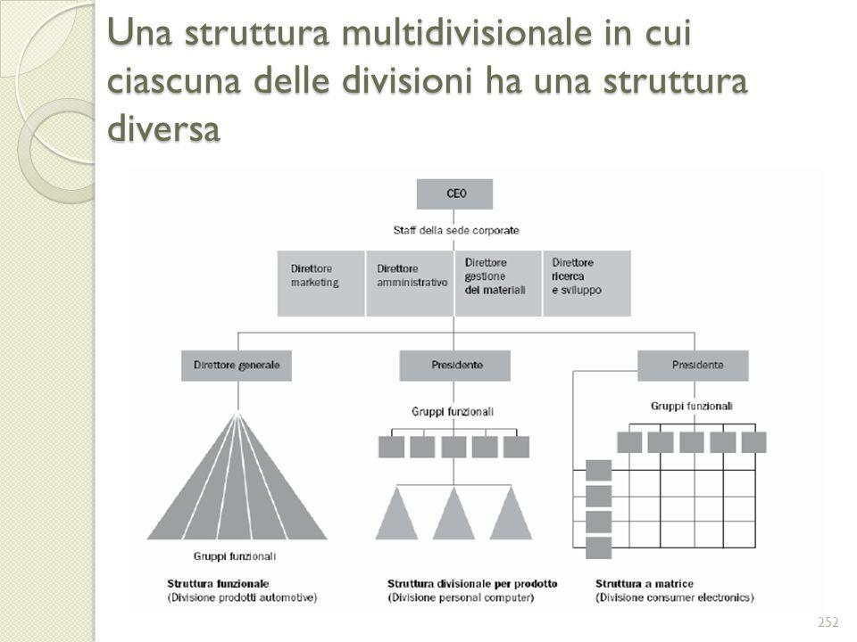 Una struttura multidivisionale in cui ciascuna delle divisioni ha una struttura diversa 252