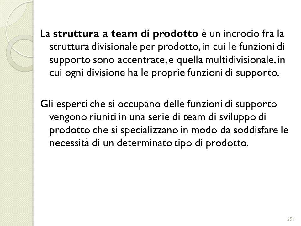 La struttura a team di prodotto è un incrocio fra la struttura divisionale per prodotto, in cui le funzioni di supporto sono accentrate, e quella mult