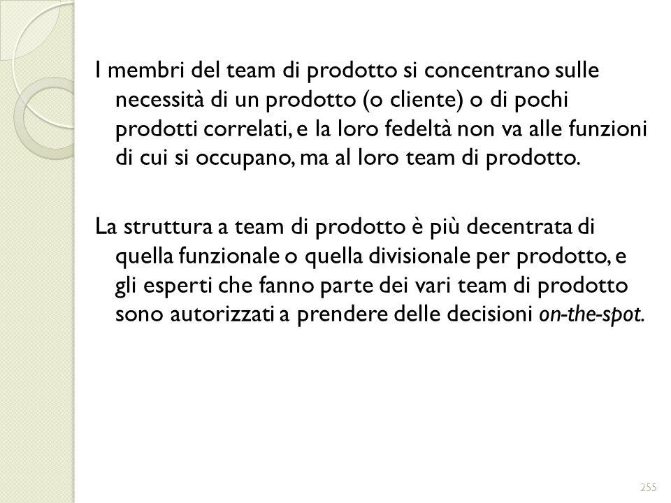 I membri del team di prodotto si concentrano sulle necessità di un prodotto (o cliente) o di pochi prodotti correlati, e la loro fedeltà non va alle f
