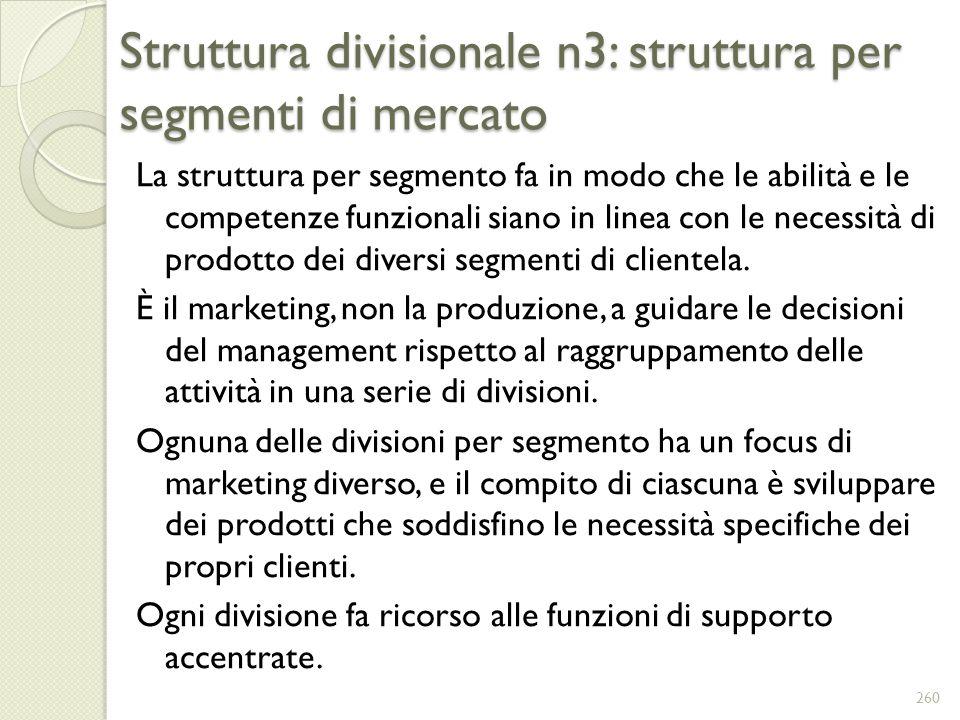 Struttura divisionale n3: struttura per segmenti di mercato La struttura per segmento fa in modo che le abilità e le competenze funzionali siano in li