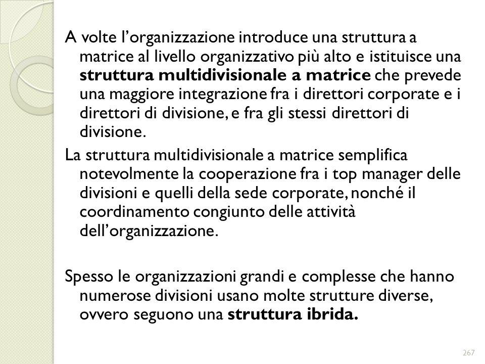 A volte lorganizzazione introduce una struttura a matrice al livello organizzativo più alto e istituisce una struttura multidivisionale a matrice che