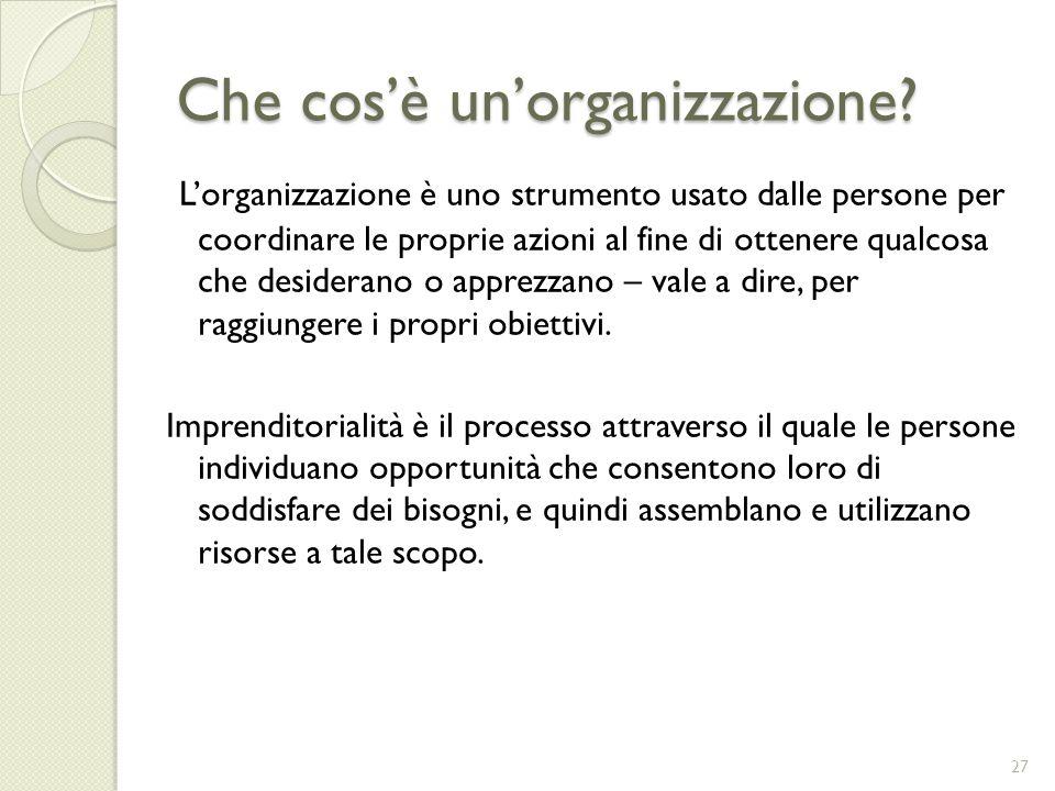 Che cosè unorganizzazione? Lorganizzazione è uno strumento usato dalle persone per coordinare le proprie azioni al fine di ottenere qualcosa che desid