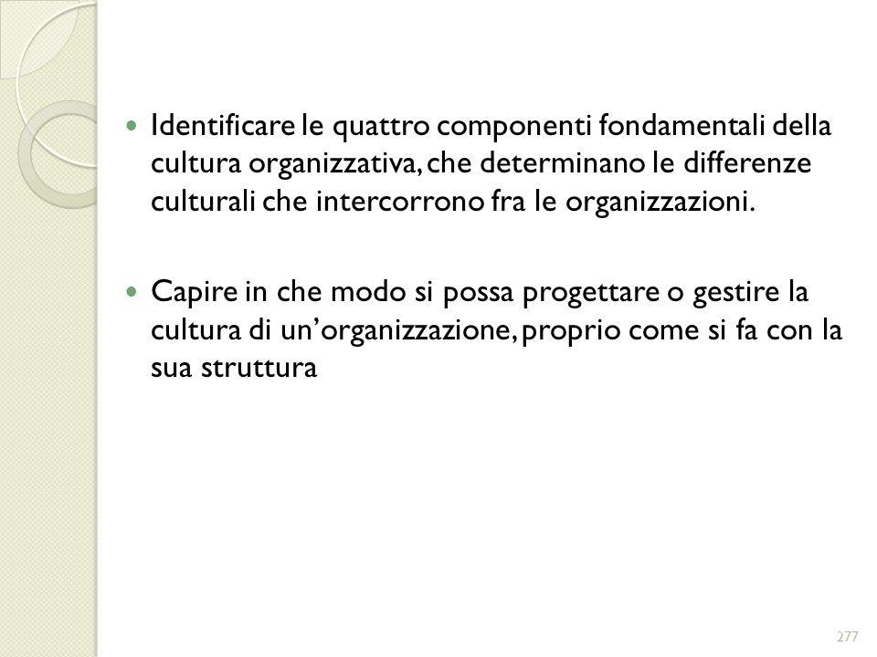 Identificare le quattro componenti fondamentali della cultura organizzativa, che determinano le differenze culturali che intercorrono fra le organizza