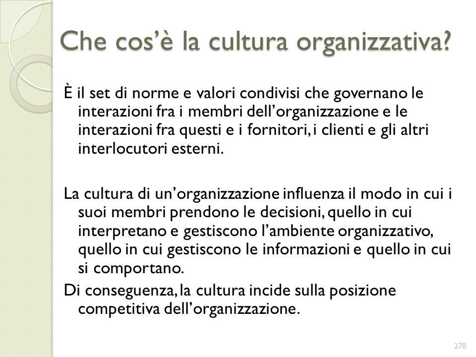 Che cosè la cultura organizzativa? È il set di norme e valori condivisi che governano le interazioni fra i membri dellorganizzazione e le interazioni