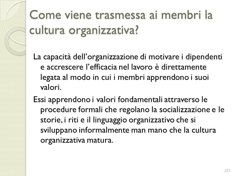 Come viene trasmessa ai membri la cultura organizzativa? La capacità dellorganizzazione di motivare i dipendenti e accrescere lefficacia nel lavoro è