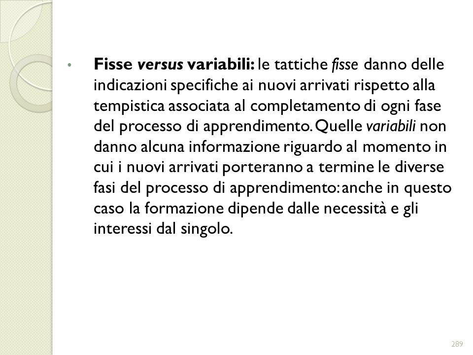 Fisse versus variabili: le tattiche fisse danno delle indicazioni specifiche ai nuovi arrivati rispetto alla tempistica associata al completamento di