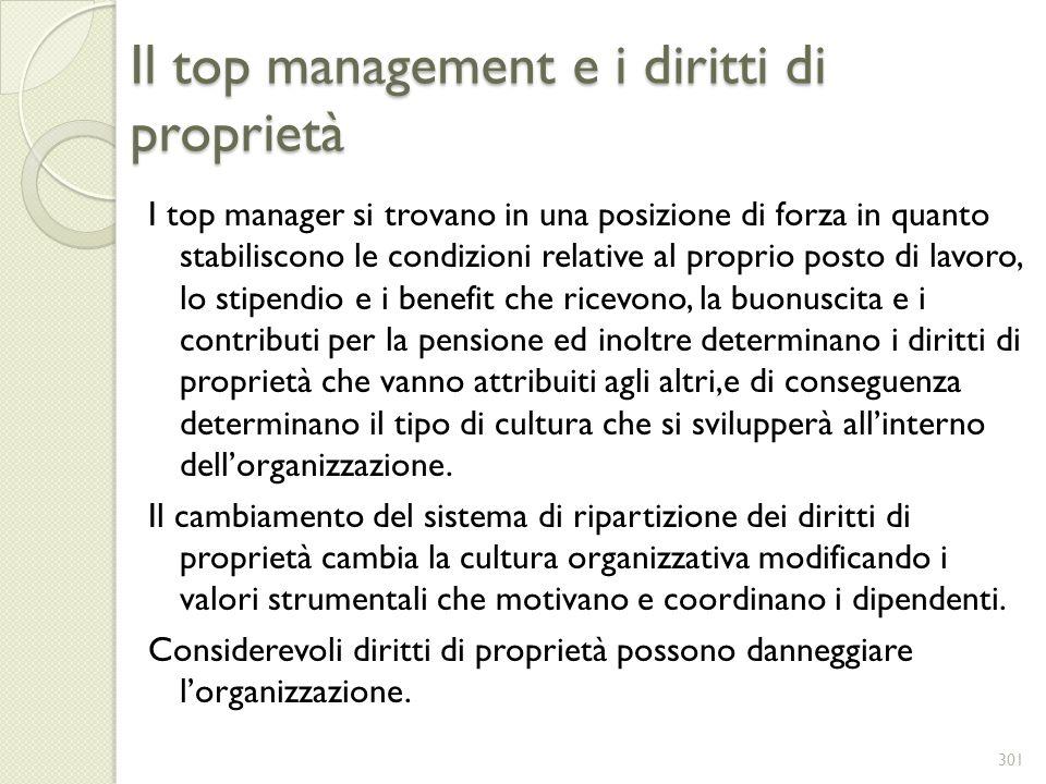 Il top management e i diritti di proprietà I top manager si trovano in una posizione di forza in quanto stabiliscono le condizioni relative al proprio
