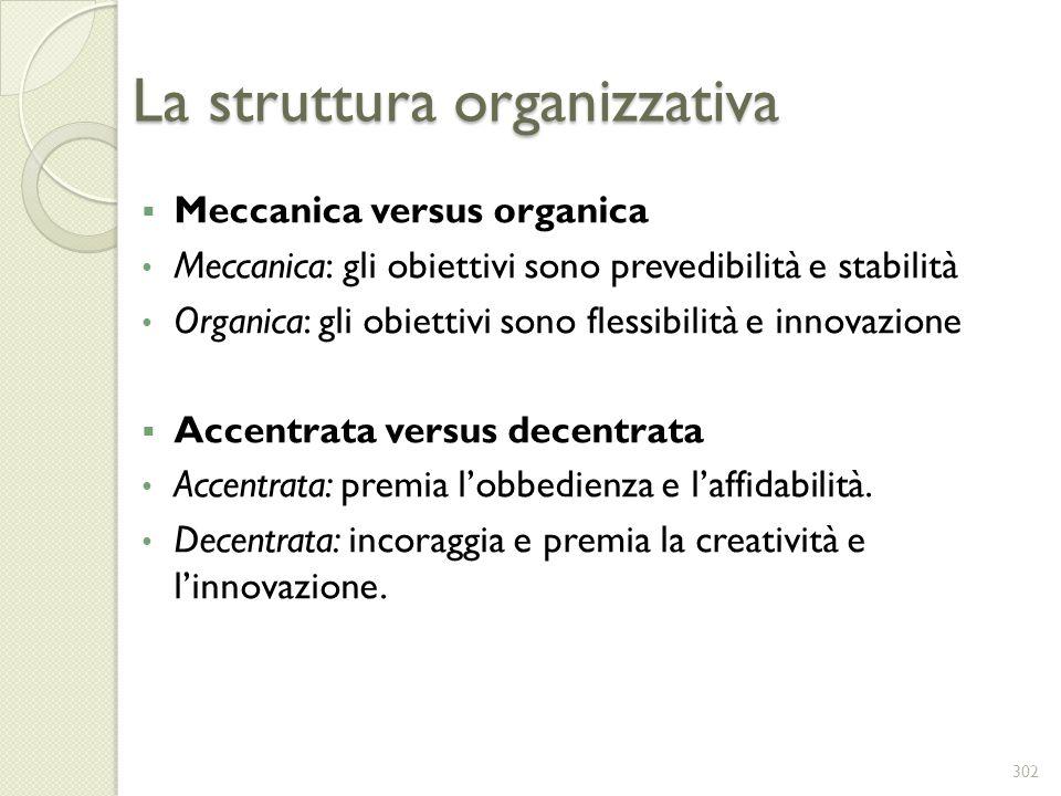 La struttura organizzativa Meccanica versus organica Meccanica: gli obiettivi sono prevedibilità e stabilità Organica: gli obiettivi sono flessibilità