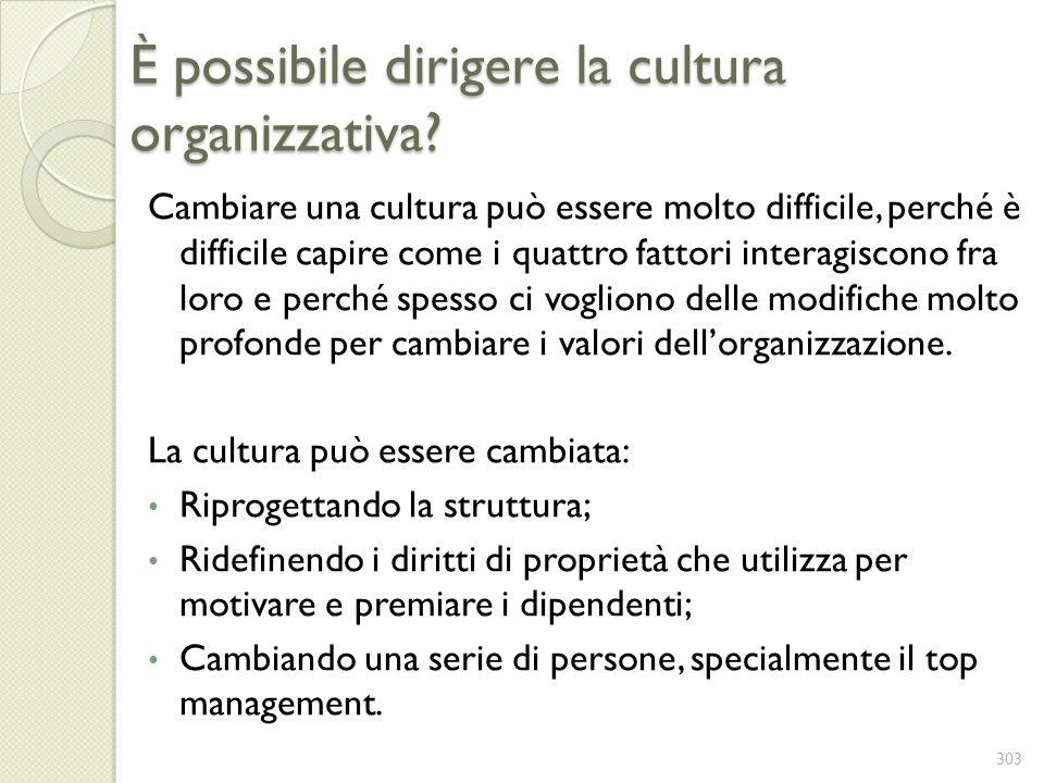 È possibile dirigere la cultura organizzativa? Cambiare una cultura può essere molto difficile, perché è difficile capire come i quattro fattori inter