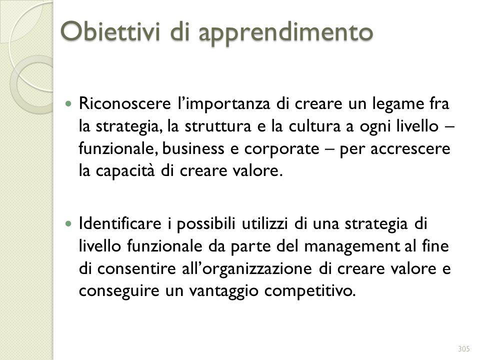 Obiettivi di apprendimento Riconoscere limportanza di creare un legame fra la strategia, la struttura e la cultura a ogni livello – funzionale, busine