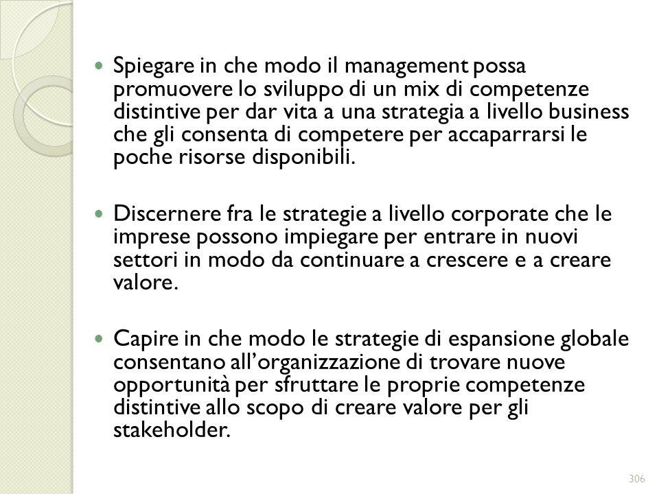 Spiegare in che modo il management possa promuovere lo sviluppo di un mix di competenze distintive per dar vita a una strategia a livello business che