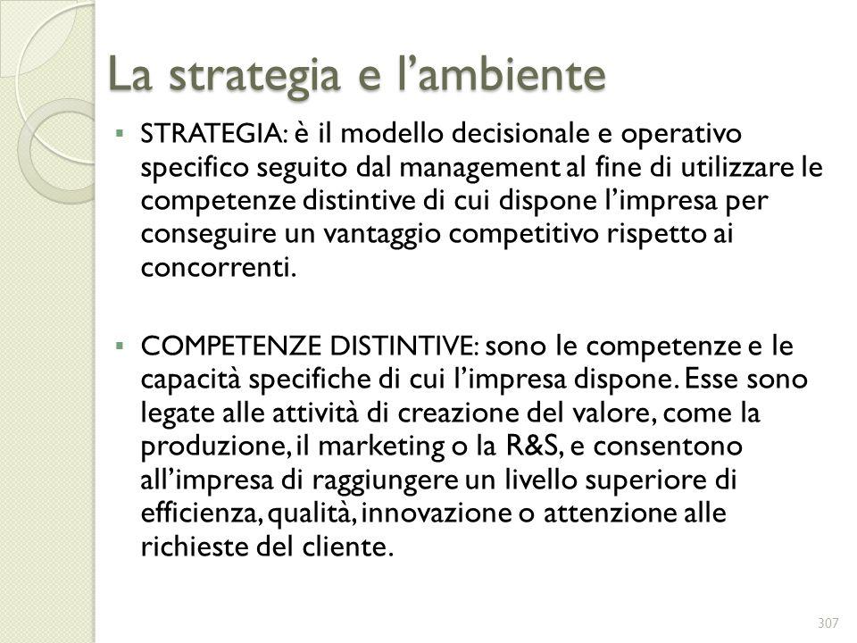 La strategia e lambiente STRATEGIA: è il modello decisionale e operativo specifico seguito dal management al fine di utilizzare le competenze distinti