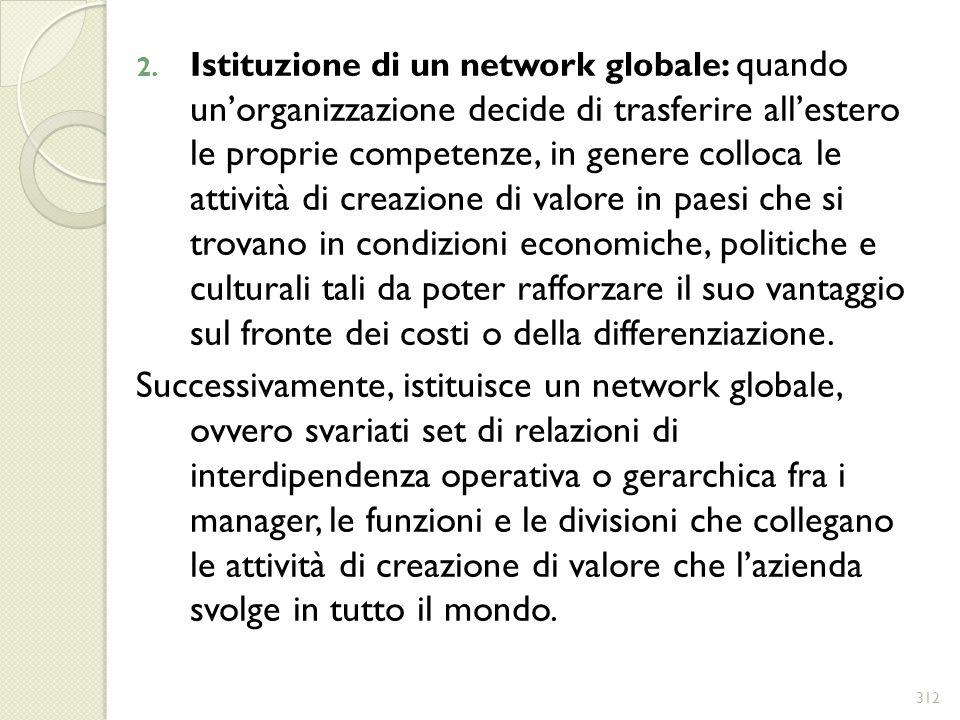 2. Istituzione di un network globale: quando unorganizzazione decide di trasferire allestero le proprie competenze, in genere colloca le attività di c