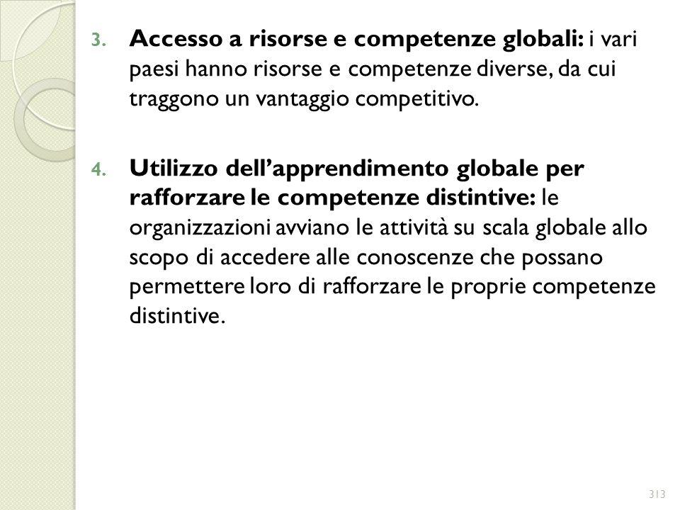 3. Accesso a risorse e competenze globali: i vari paesi hanno risorse e competenze diverse, da cui traggono un vantaggio competitivo. 4. Utilizzo dell