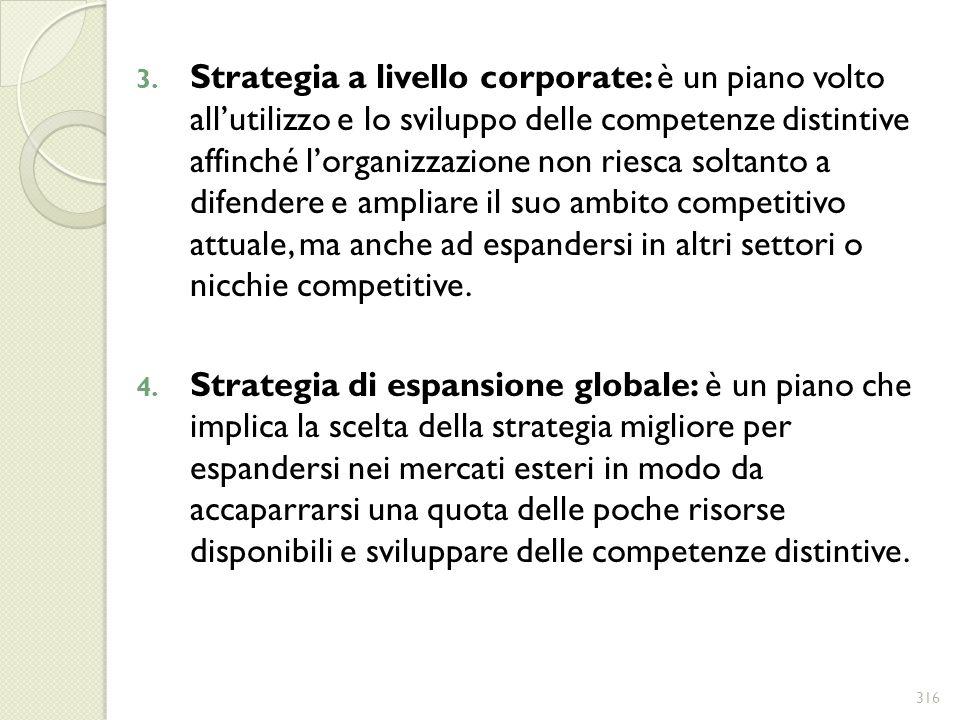 3. Strategia a livello corporate: è un piano volto allutilizzo e lo sviluppo delle competenze distintive affinché lorganizzazione non riesca soltanto