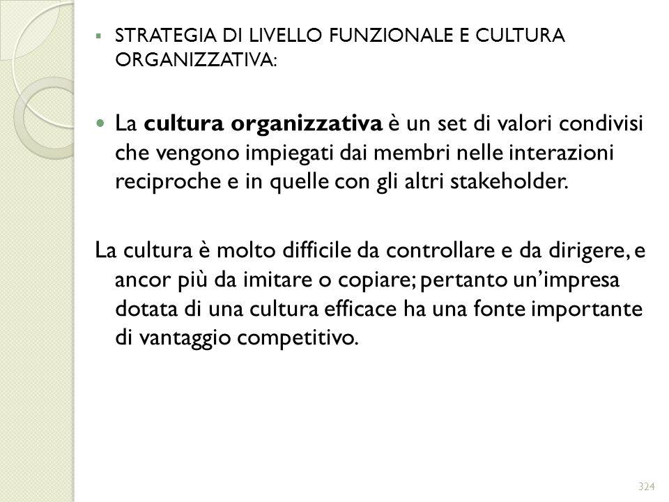 STRATEGIA DI LIVELLO FUNZIONALE E CULTURA ORGANIZZATIVA: La cultura organizzativa è un set di valori condivisi che vengono impiegati dai membri nelle