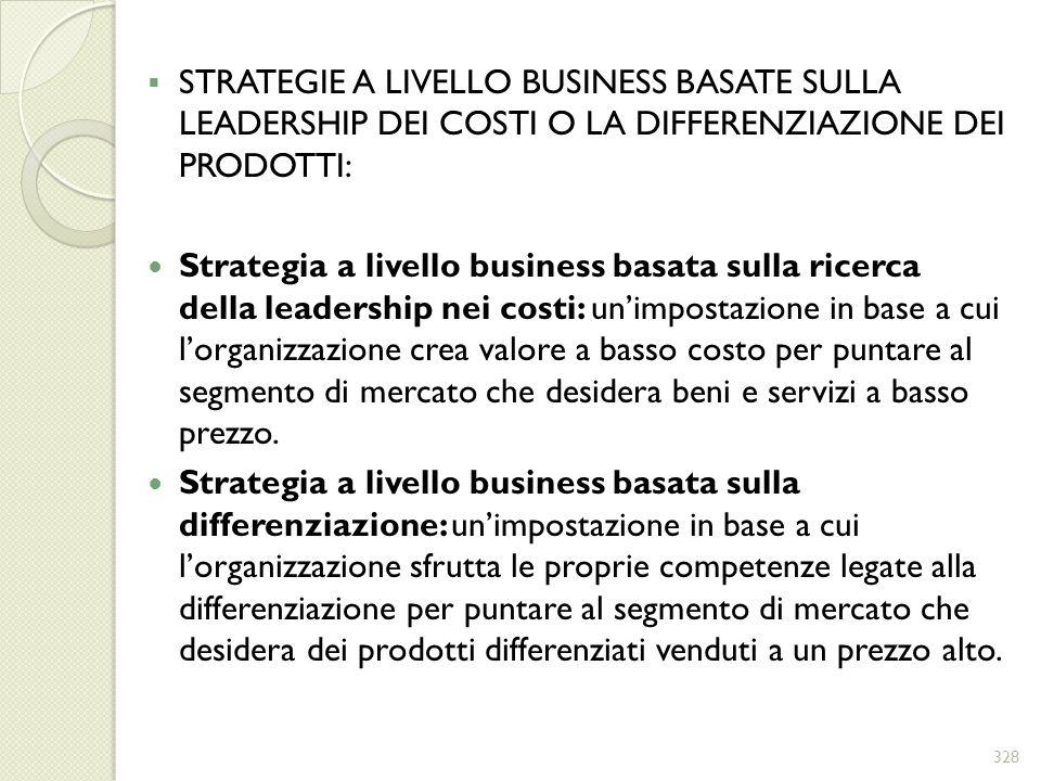 STRATEGIE A LIVELLO BUSINESS BASATE SULLA LEADERSHIP DEI COSTI O LA DIFFERENZIAZIONE DEI PRODOTTI: Strategia a livello business basata sulla ricerca d