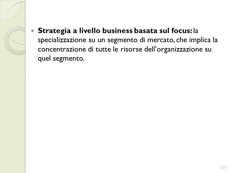 Strategia a livello business basata sul focus: la specializzazione su un segmento di mercato, che implica la concentrazione di tutte le risorse dellor
