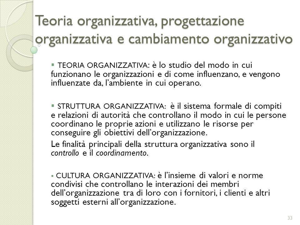 Teoria organizzativa, progettazione organizzativa e cambiamento organizzativo TEORIA ORGANIZZATIVA : è lo studio del modo in cui funzionano le organiz