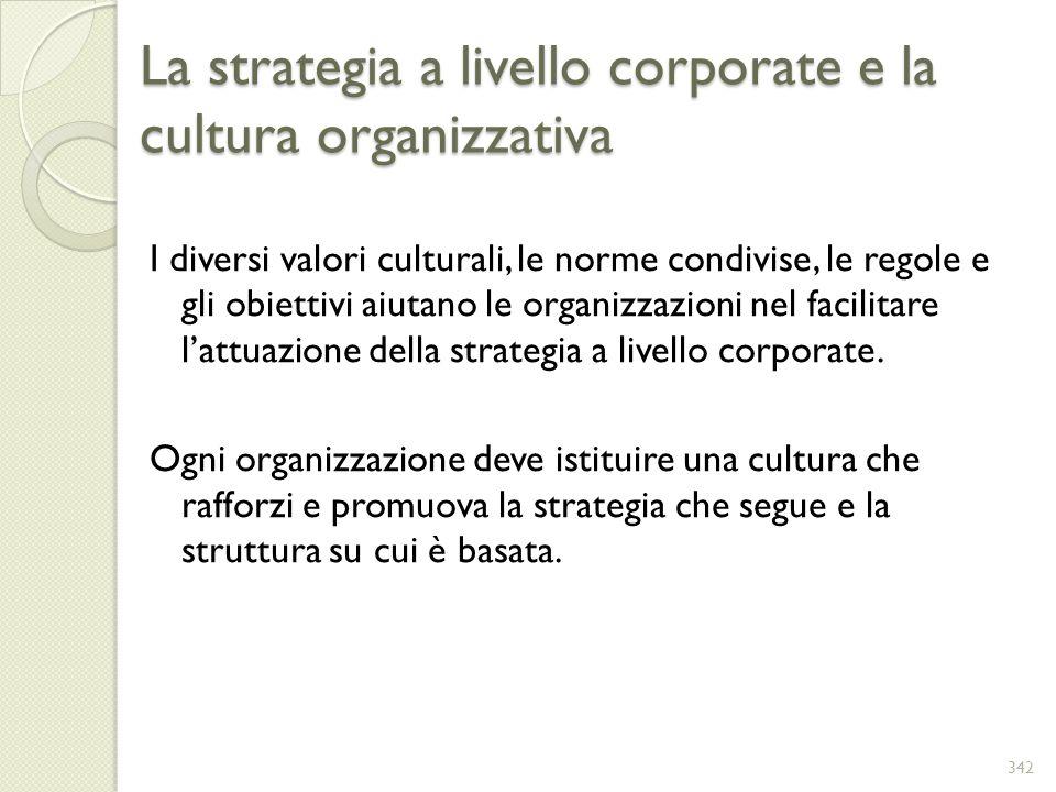 La strategia a livello corporate e la cultura organizzativa I diversi valori culturali, le norme condivise, le regole e gli obiettivi aiutano le organ