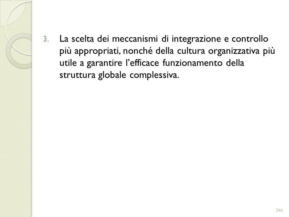 3. La scelta dei meccanismi di integrazione e controllo più appropriati, nonché della cultura organizzativa più utile a garantire lefficace funzioname