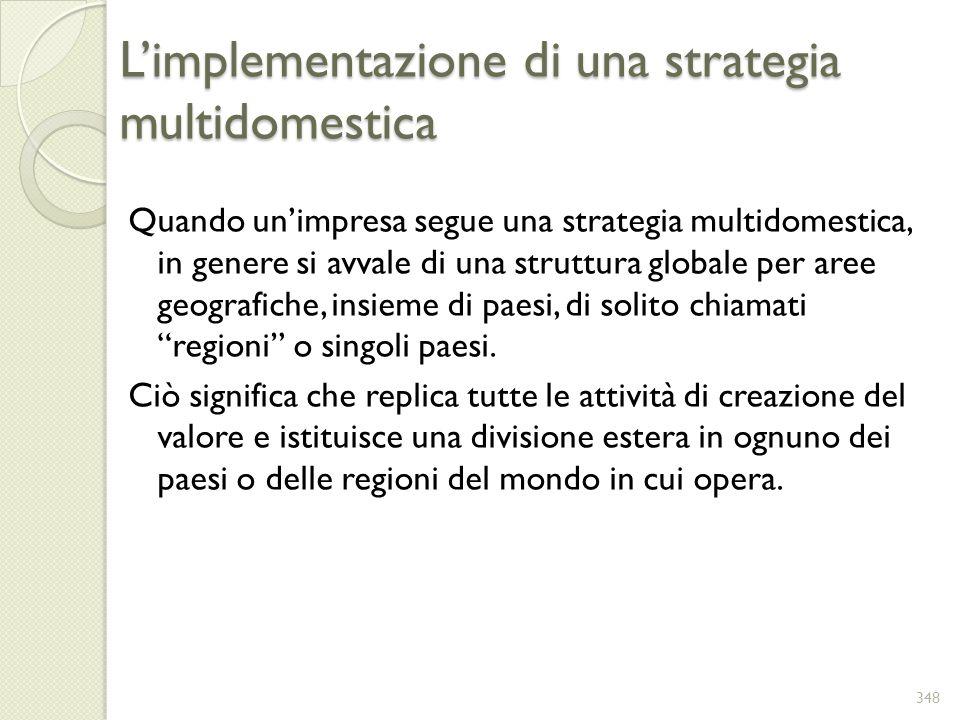 Limplementazione di una strategia multidomestica Quando unimpresa segue una strategia multidomestica, in genere si avvale di una struttura globale per