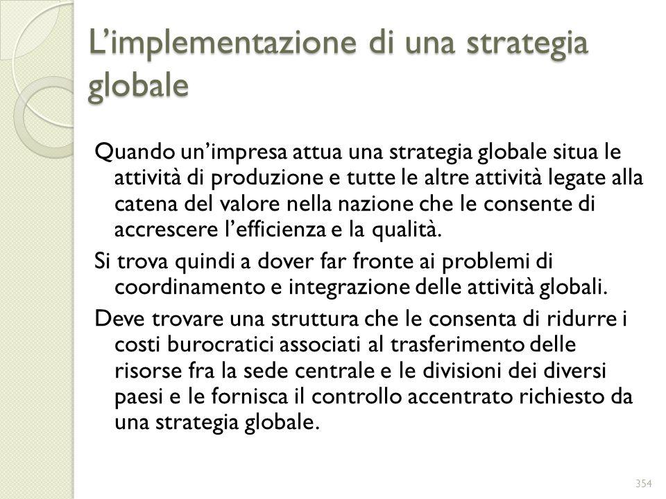 Limplementazione di una strategia globale Quando unimpresa attua una strategia globale situa le attività di produzione e tutte le altre attività legat