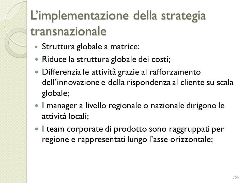 Limplementazione della strategia transnazionale Struttura globale a matrice: Riduce la struttura globale dei costi; Differenzia le attività grazie al