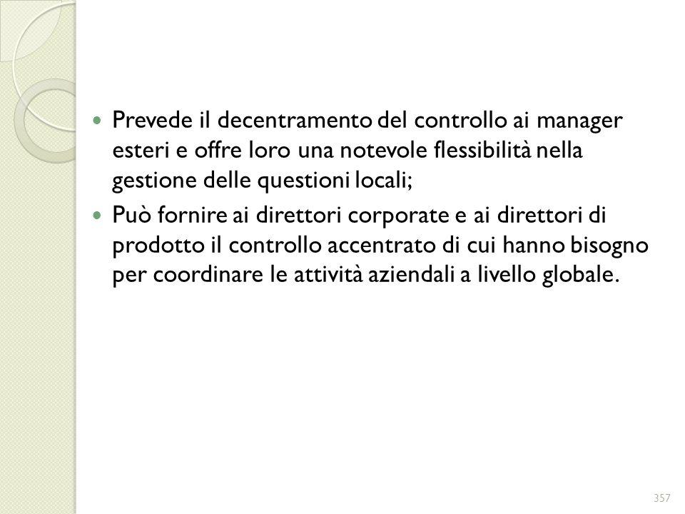Prevede il decentramento del controllo ai manager esteri e offre loro una notevole flessibilità nella gestione delle questioni locali; Può fornire ai