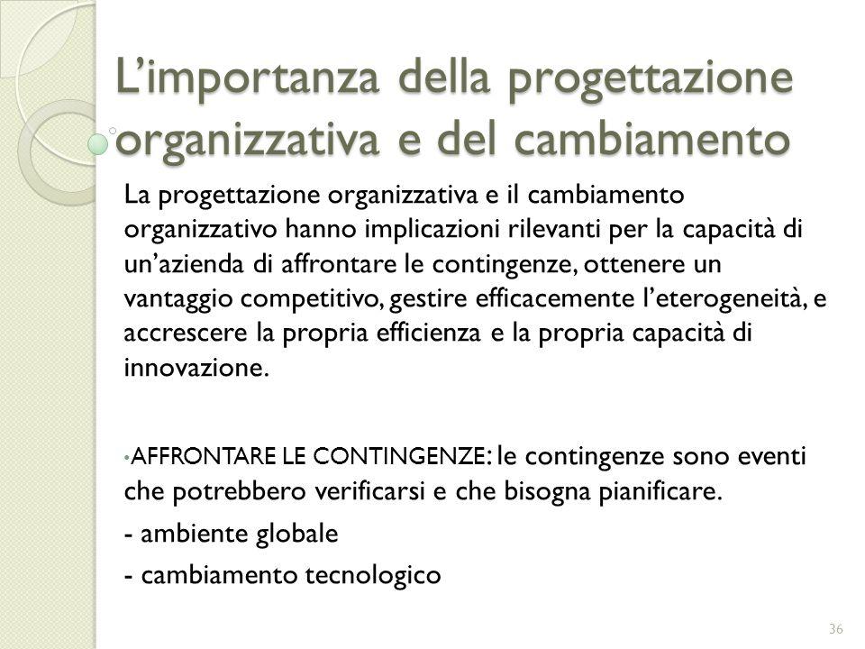 Limportanza della progettazione organizzativa e del cambiamento La progettazione organizzativa e il cambiamento organizzativo hanno implicazioni rilev