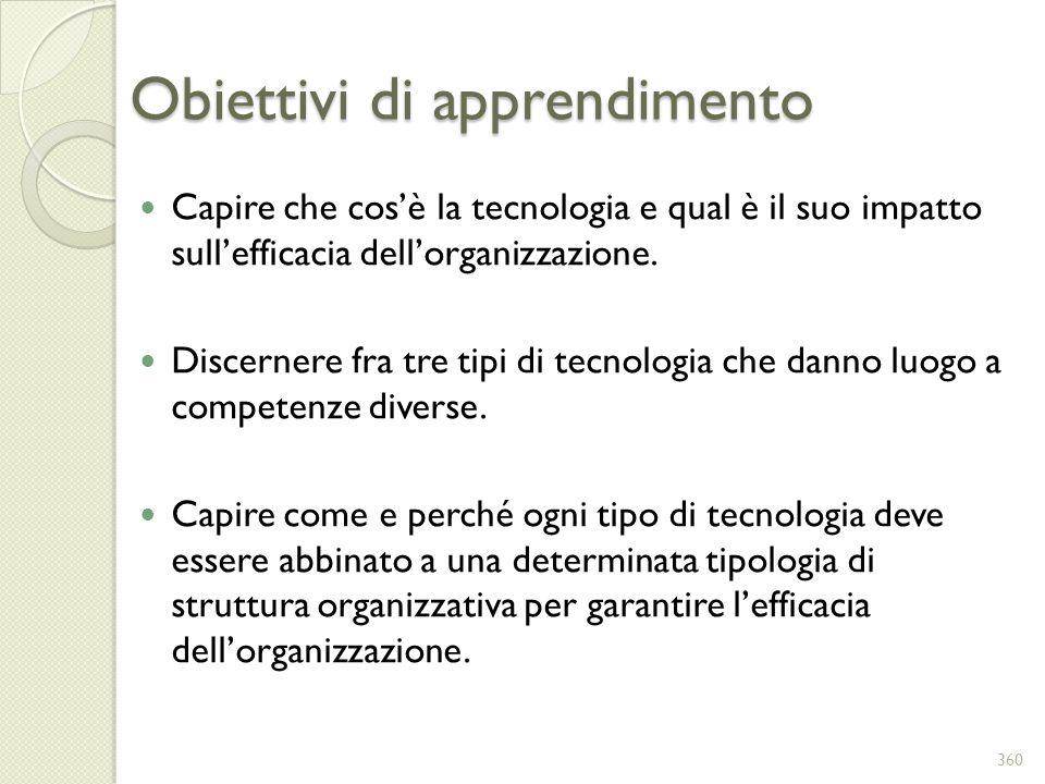 Obiettivi di apprendimento Capire che cosè la tecnologia e qual è il suo impatto sullefficacia dellorganizzazione. Discernere fra tre tipi di tecnolog