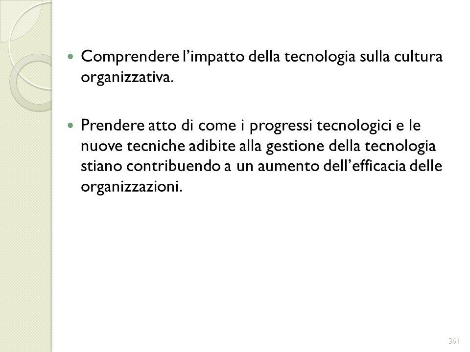 Comprendere limpatto della tecnologia sulla cultura organizzativa. Prendere atto di come i progressi tecnologici e le nuove tecniche adibite alla gest