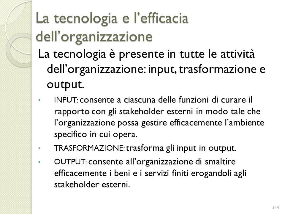 La tecnologia e lefficacia dellorganizzazione La tecnologia è presente in tutte le attività dellorganizzazione: input, trasformazione e output. INPUT: