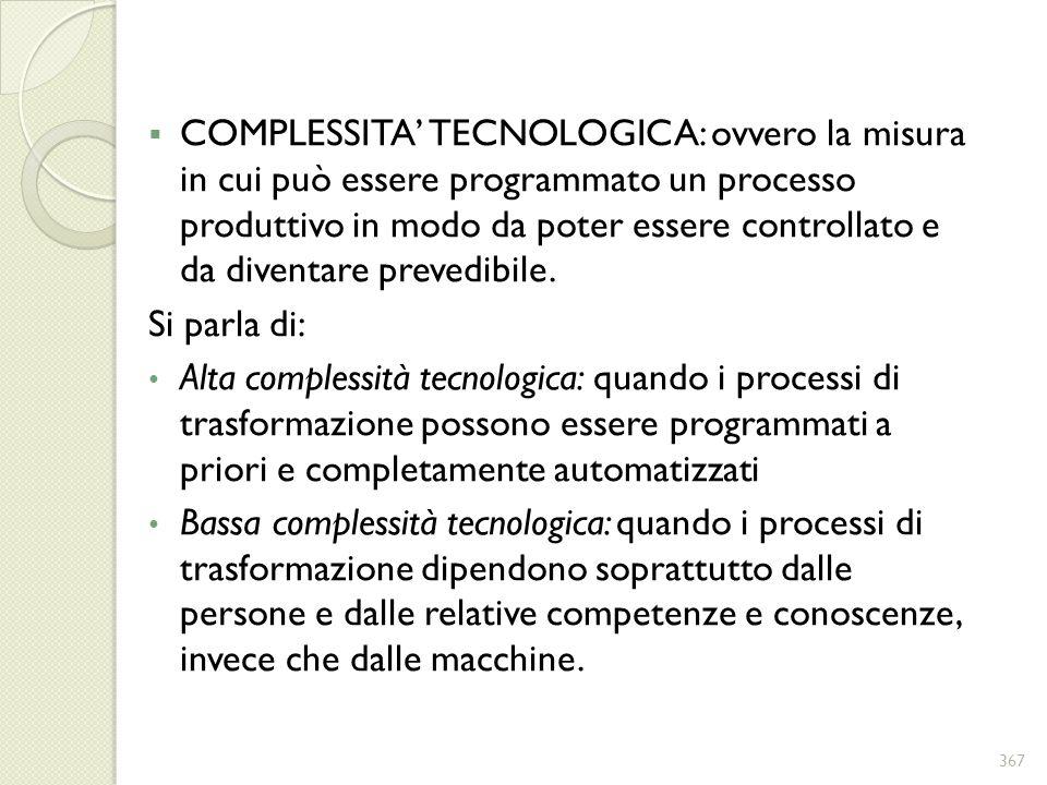 COMPLESSITA TECNOLOGICA: ovvero la misura in cui può essere programmato un processo produttivo in modo da poter essere controllato e da diventare prev