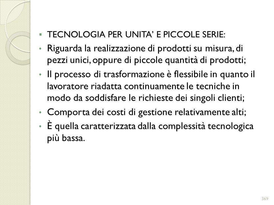 TECNOLOGIA PER UNITA E PICCOLE SERIE: Riguarda la realizzazione di prodotti su misura, di pezzi unici, oppure di piccole quantità di prodotti; Il proc