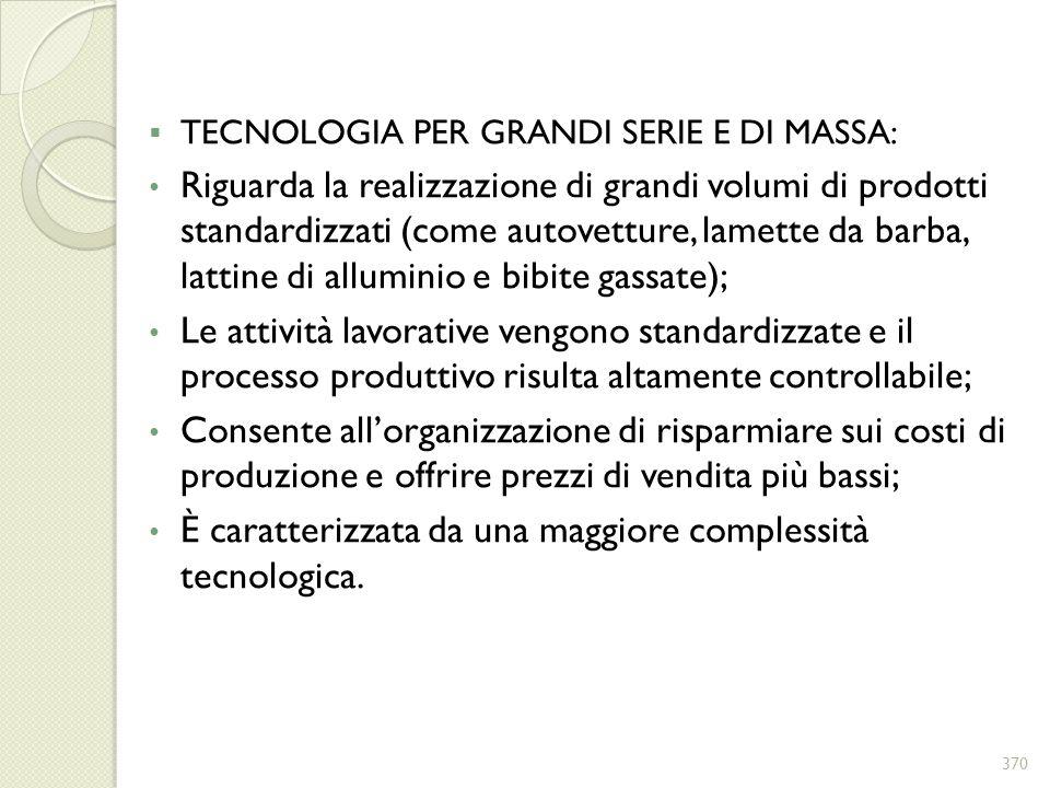 TECNOLOGIA PER GRANDI SERIE E DI MASSA: Riguarda la realizzazione di grandi volumi di prodotti standardizzati (come autovetture, lamette da barba, lat