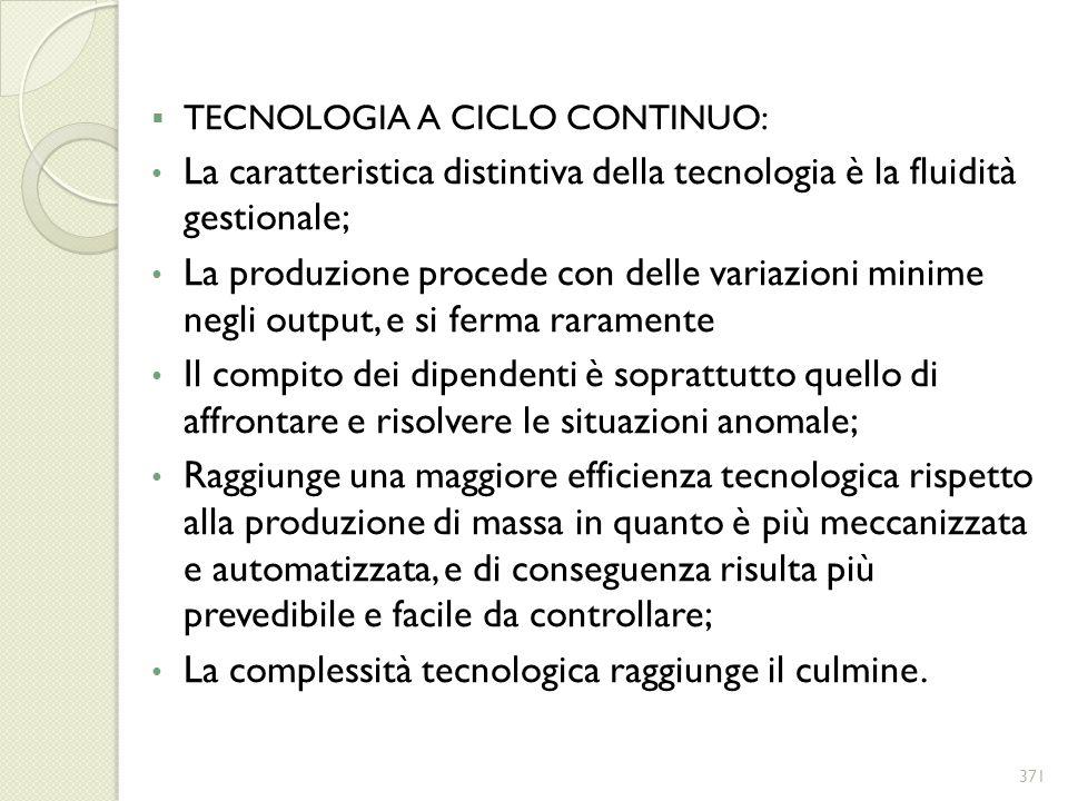 TECNOLOGIA A CICLO CONTINUO: La caratteristica distintiva della tecnologia è la fluidità gestionale; La produzione procede con delle variazioni minime