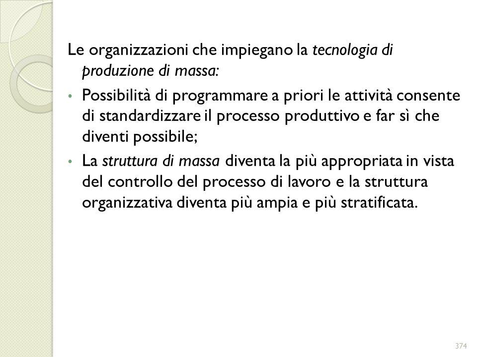 Le organizzazioni che impiegano la tecnologia di produzione di massa: Possibilità di programmare a priori le attività consente di standardizzare il pr