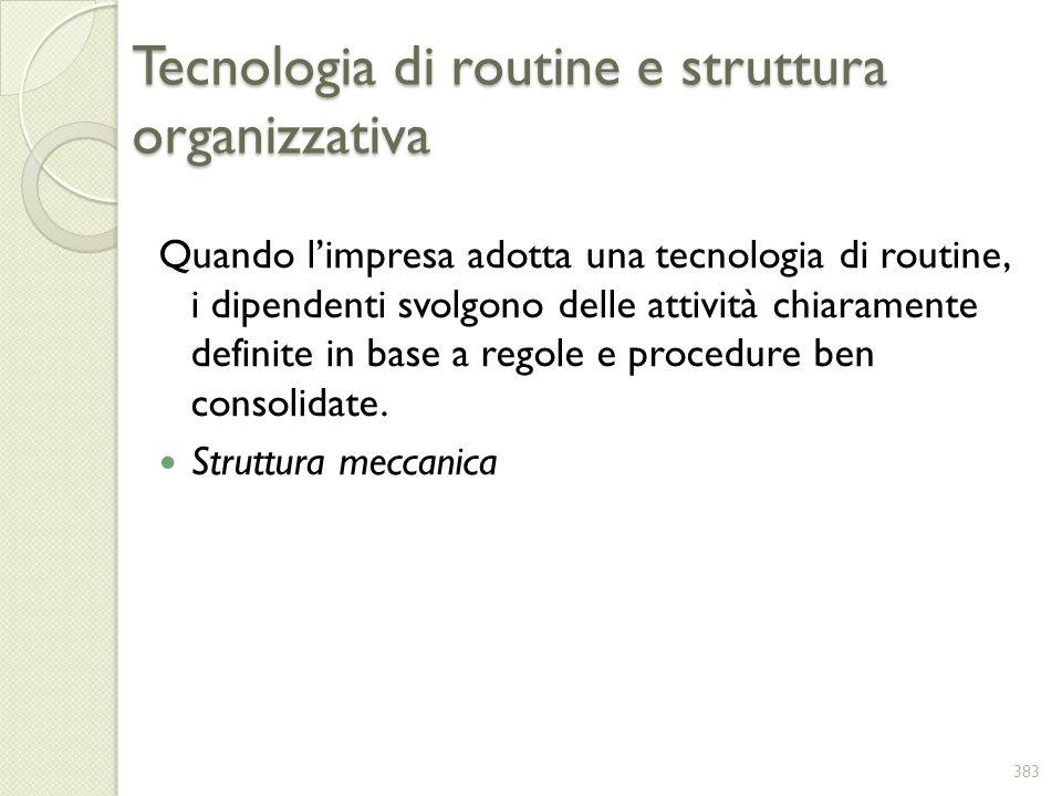 Tecnologia di routine e struttura organizzativa Quando limpresa adotta una tecnologia di routine, i dipendenti svolgono delle attività chiaramente def