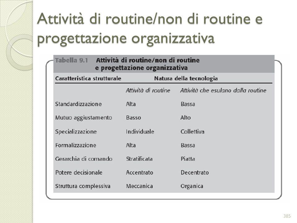 Attività di routine/non di routine e progettazione organizzativa 385