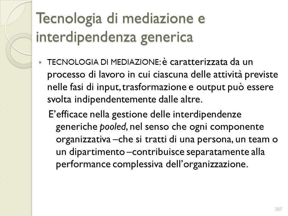 Tecnologia di mediazione e interdipendenza generica TECNOLOGIA DI MEDIAZIONE : è caratterizzata da un processo di lavoro in cui ciascuna delle attivit