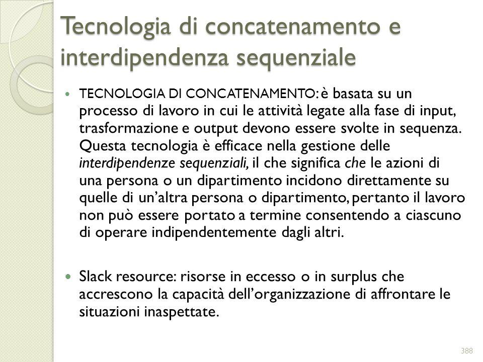 Tecnologia di concatenamento e interdipendenza sequenziale TECNOLOGIA DI CONCATENAMENTO : è basata su un processo di lavoro in cui le attività legate