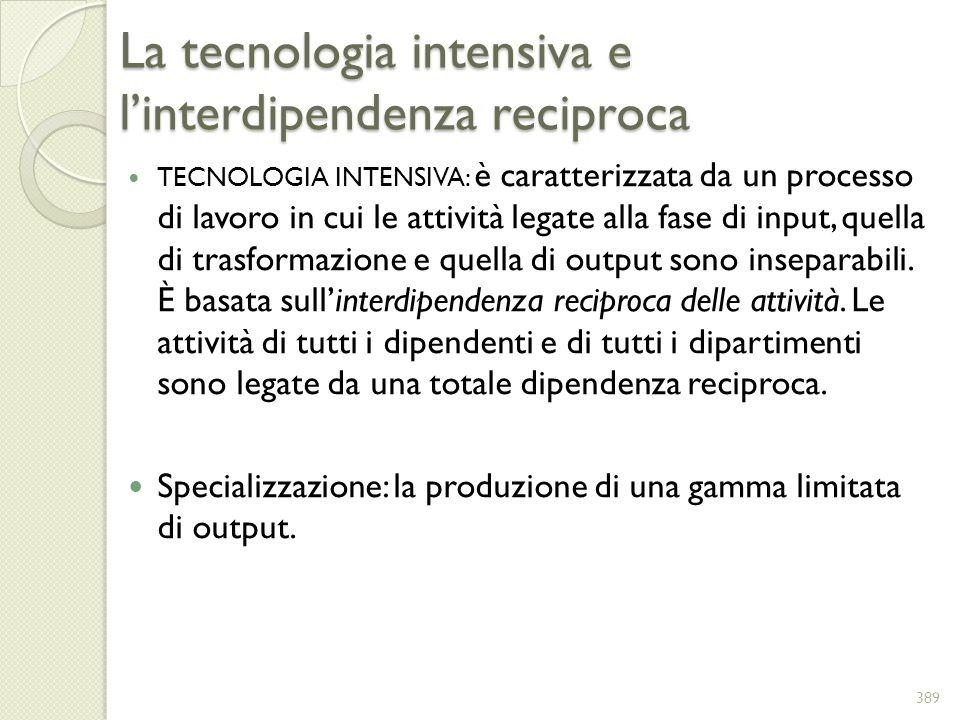 La tecnologia intensiva e linterdipendenza reciproca TECNOLOGIA INTENSIVA: è caratterizzata da un processo di lavoro in cui le attività legate alla fa