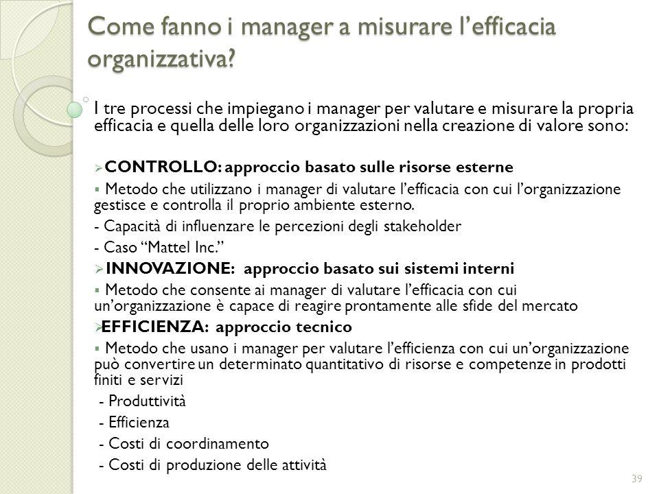 Come fanno i manager a misurare lefficacia organizzativa? I tre processi che impiegano i manager per valutare e misurare la propria efficacia e quella
