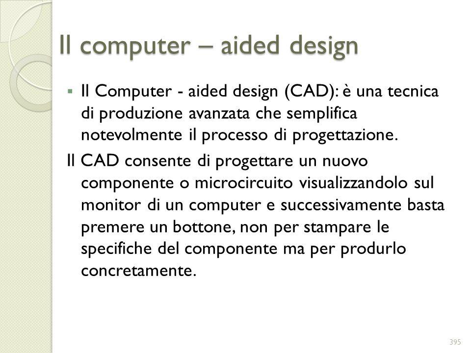 Il computer – aided design Il Computer - aided design (CAD): è una tecnica di produzione avanzata che semplifica notevolmente il processo di progettaz