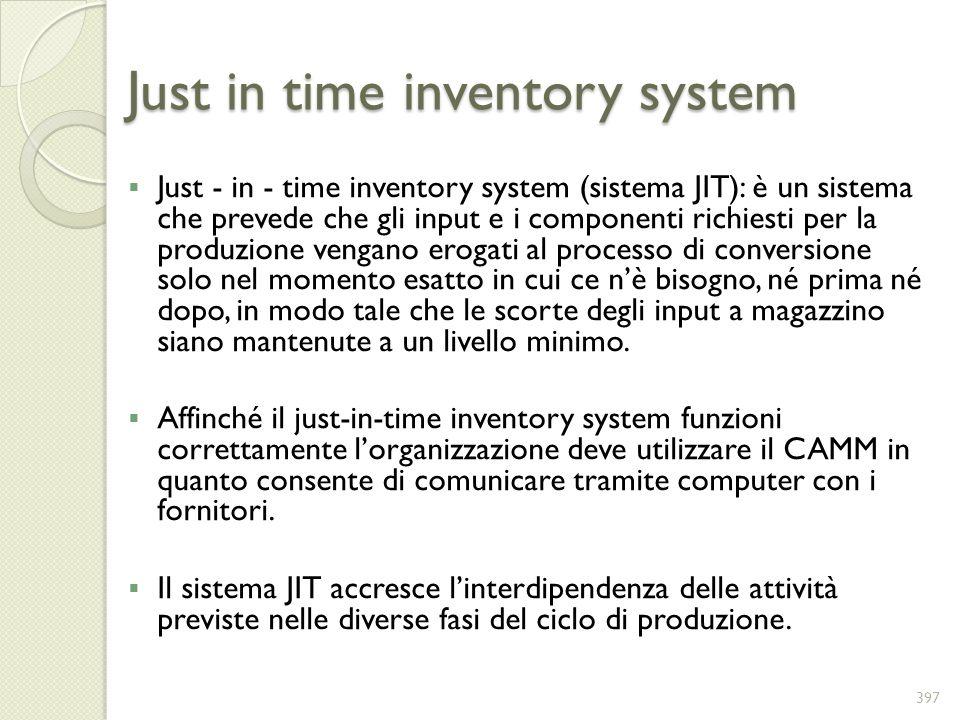 Just in time inventory system Just - in - time inventory system (sistema JIT): è un sistema che prevede che gli input e i componenti richiesti per la