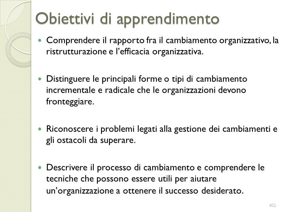 Obiettivi di apprendimento Comprendere il rapporto fra il cambiamento organizzativo, la ristrutturazione e lefficacia organizzativa. Distinguere le pr