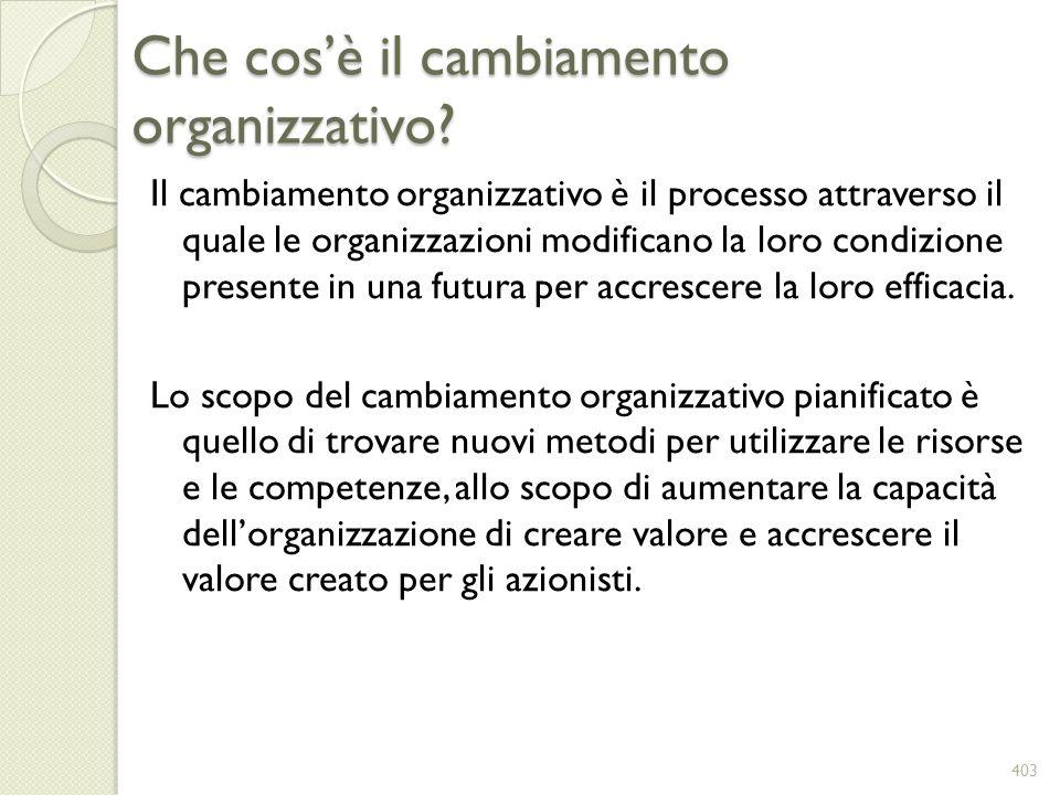 Che cosè il cambiamento organizzativo? Il cambiamento organizzativo è il processo attraverso il quale le organizzazioni modificano la loro condizione